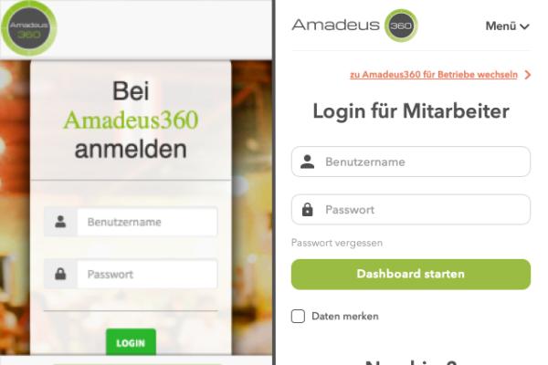Neuer Login Bereich in Amadeus360