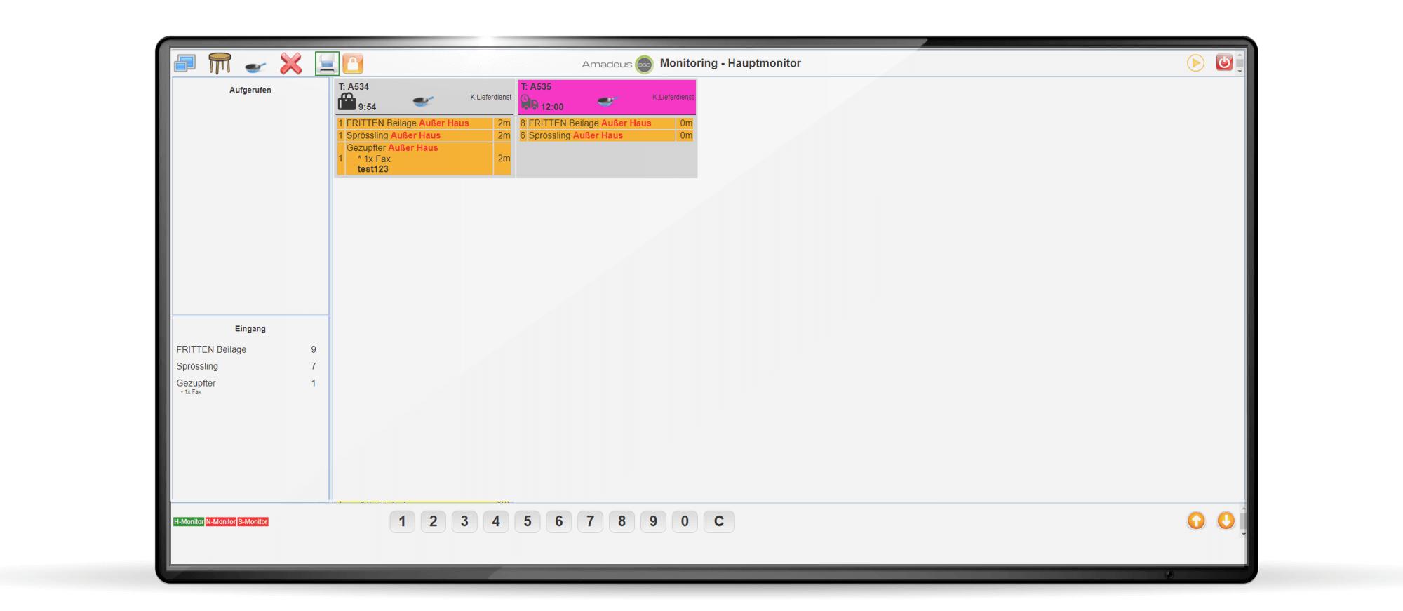 Amadeus Monitoring Hauptscreen mit Web-Bestellung